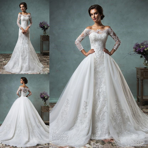 top popular Overskirt Wedding Dresses Full Lace Long Sleeves Bridal Gowns Amelia Sposa Arabic Wedding Gowns Wit Bateau Neck Zip Back Court Train 2019