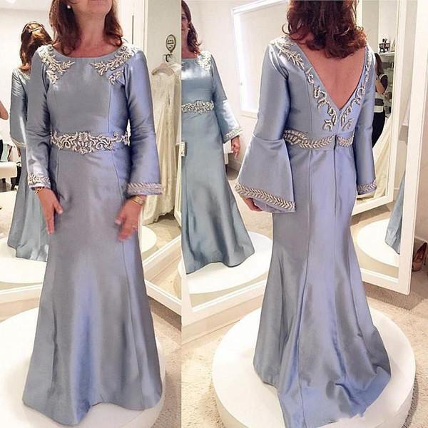 Arabie Saoudite Satin Robes De Soirée Manches Longues Mermaid Mère De La Mariée Robes De Bal Backless Appliques Perles Mère Dress Custom Made