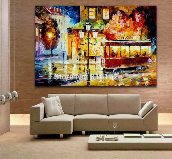 Palette Knife Oil Painting Last Trolley Europe Cityscape Drawing Printed on Canvas for Living Room Bedroom Wall Art Decor