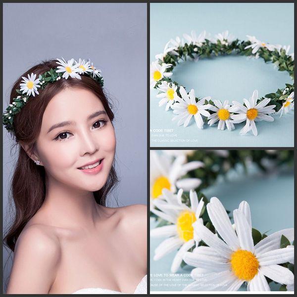 Romatic Beach Wedding decorations supply Bohemian style bridal Headbands With sunflower Floral Garland handmade Bridal Hair Accessories