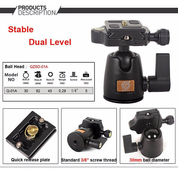 2019 QZSD Q01A Aluminum Tripod Monopod Ball Head With Quick Release Plate &  Two Levels Max Load 5KG For Canon Sony Nikon DSLR Camera From