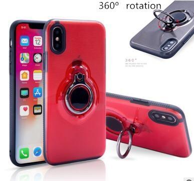 Christmas gift 360 Clear Ring Holder Magnetic Car Holder Shockproof Armor TPU PC Case Cover for iPhone X 8 7 6 6S Plus Samsung Galaxy Note 8