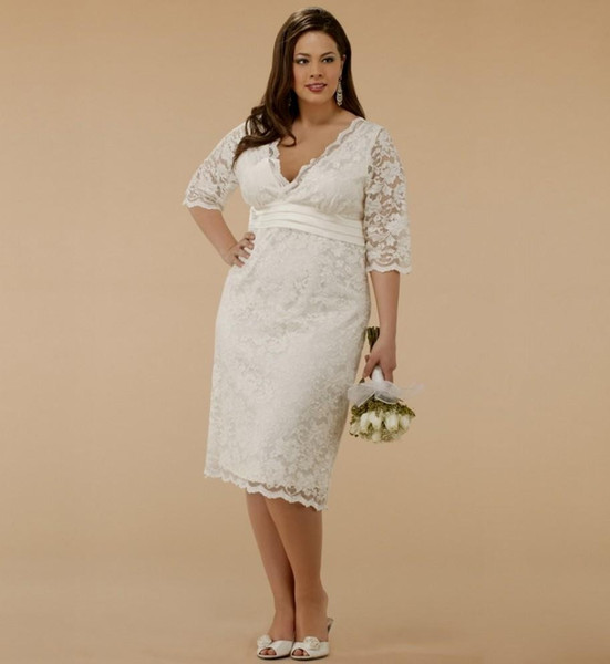Knee Length Plus Size Lace Wedding Dresses 2015 V Neck Short Sheath Bridal Dresses Half Sleeves Garden Wedding Gowns with Sash