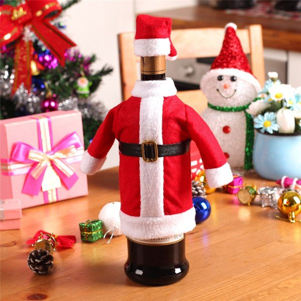 2 Pcs/Set Red Wine Bottle Cover Bags Christmas Dinner Table Decoration Home Party Decors Santa Claus Christmas Supplier free shipping