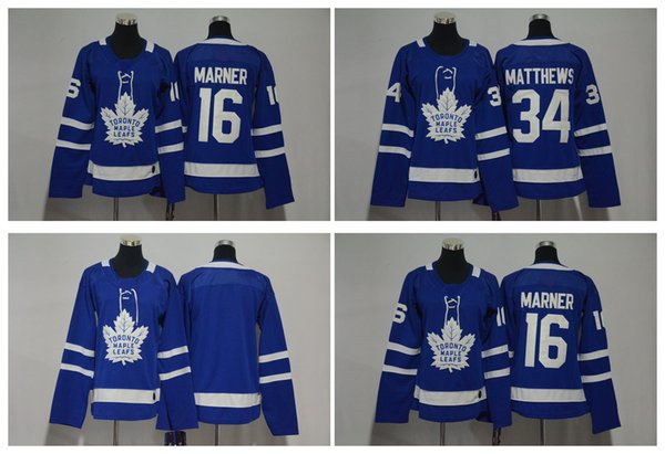 2018 AD Mujeres Toronto Maple Leafs Jersey 34 Auston Matthews 16 Mitch Marner en blanco cosido azul damas jerseys de hockey