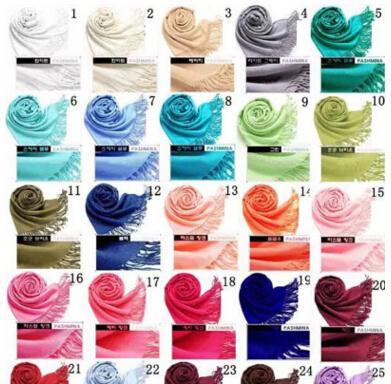 41Colors Hot Pashmina Cashmere Solid Shawl Wrap Women's Girls Ladies Scarf Soft Fringes Solid Scarf MOQ 20 pcs