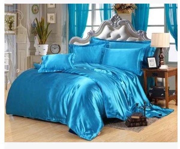 Silk bedding set acid lake blue satin super king size queen full twin duvet cover fitted bed sheets double bedsheet quilt 5pcs bedlinen
