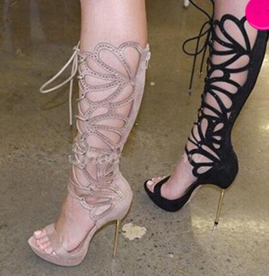 Frauen Charming Design Open Toe Lace-up Strass Kniehohe Gladiator Stiefel Stöckel Absatz Sandale Stiefel Kleid Stiefel