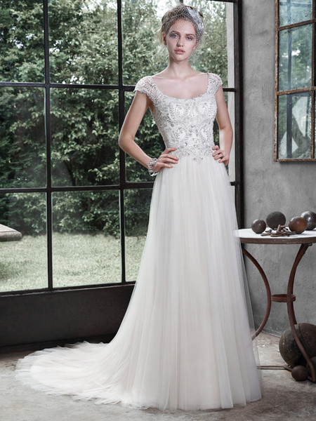 2016 beautiful off the shoulder a line tulle wedding gowns backless wedding dresses caitlyn applique beaded