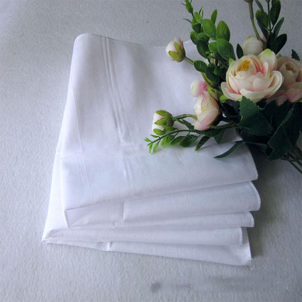 100% Cotton Male Table Satin Handkerchief Pure White Hankerchiefs Cotton Towel Mens Suit Pocket Square Handkerchief whitest