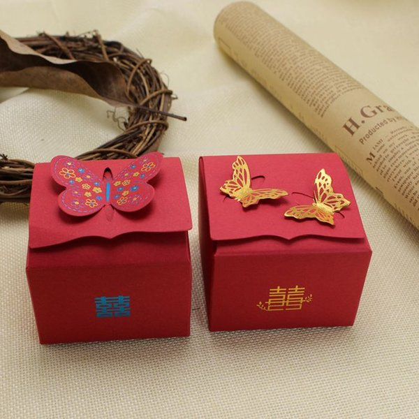 Bridal Wedding Favor Boxes Gold Butterfly Shape Wedding Candy Boxes ...