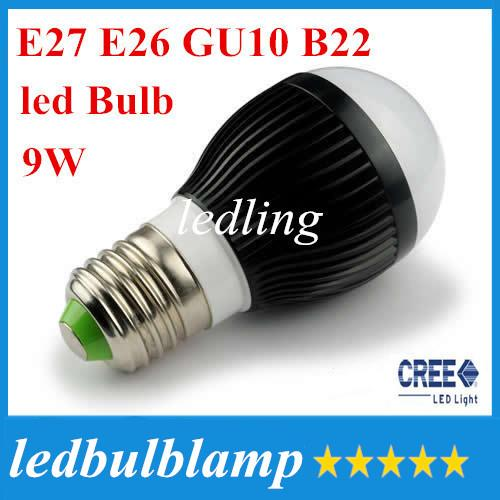 CREE AC85-265V dimmable 9w 3X3W E27 E26 B22 GU10 base type warm / cold white LED bubble ball bulb spotlight corn lamp+CE ROHS