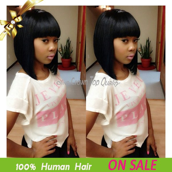 Human Hair Lace Front Wig Short Bob Full Lace Wigs With Full Bangs Brazilian Virgin Human Hair Lace Wig With Bleached Knots Baby Hair