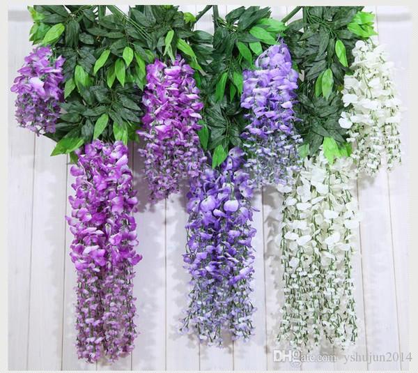 Sıcak Satış Lüks Zarif Toplu Ipek Çiçekler Bush Wisteria Garland Asılı Süsleme Bahçe Ev Düğün Dekorasyon Malzemeleri Için