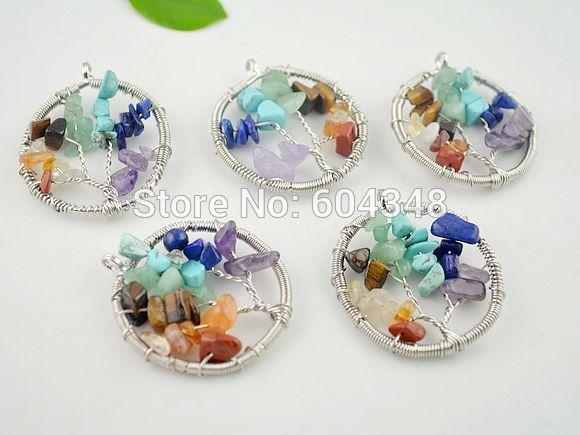 crystal luxury Crystal Shiny 5pcs Wire wrapped oval round tree of life pendant necklace blue turquoise amethyst flourite crystal druzy chips