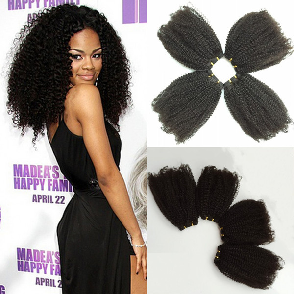 Brazilian Kinky Curly Hair Weaves Natural Black 4pcs Human Hair Extensions Brazilian Afro Kinky Curly Hair Weaves Cheap Hair Weaves Curly