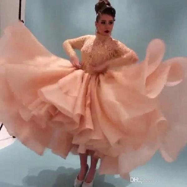 2019 Myriam Fares Celebridade Vestidos Com Mangas Compridas Vestidos de Baile Frisado Lace Vestidos de Festa Alta Pescoço Alta Baixa Arábia Cocktail Vestido de Noite