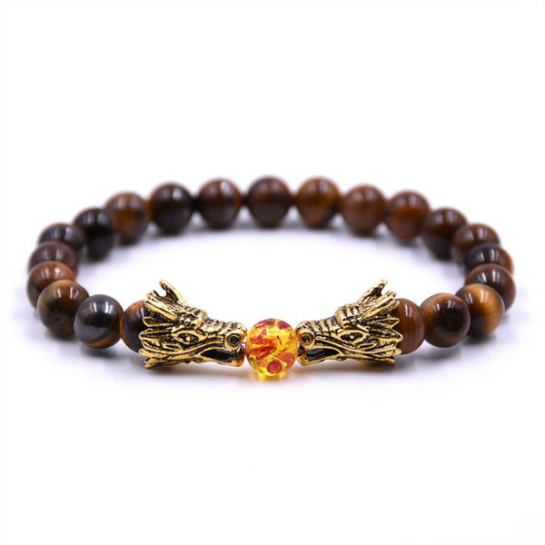 8mm Natural Stone Beaded Bracelet Tiger Eye Crystal Bracelet Men Bileklik Men Jewelry Dragon Pulseras Pulseira