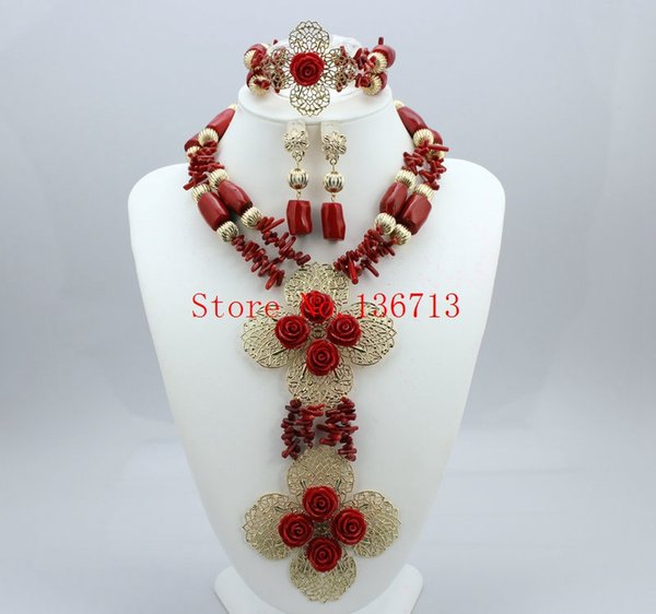 Fashion nigerian wedding african Coral beads gold plated Women jewelry set Coral necklace + bracelet + earrings Free ship GD101-4