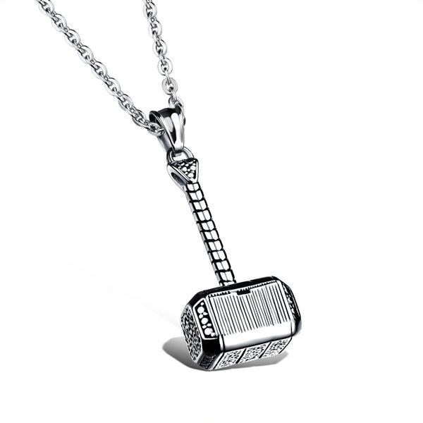 Wholesale punk fashion jewelry link chain cool Men's Stainless steel Hammer pendant necklaces decorated gift 2 colors