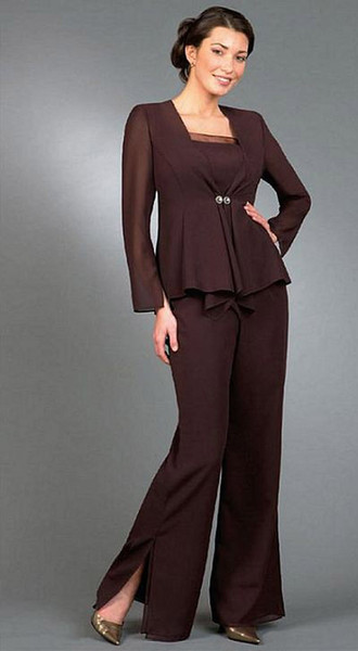 Elegant Empire Mother of the Bride Pant Suits With Long Sleeves Jacket Side Slit Wedding Dresses for Women Lady Formal Evening Gowns d131
