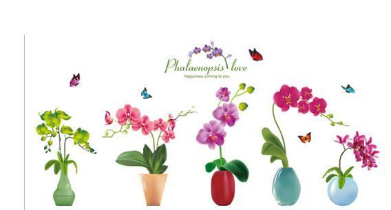 Stereo 3D Simülasyon Çiçekler Pot Duvar Sanat Mural Dekor Sticker Koridor Koridor Sınır Duvar Çıkartması Poster Grafik Pastoral Taze Çiçekler