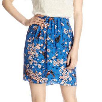 Yeni Moda Bayanlar Çin Tarzı Kuş Çiçek Baskı Mavi Etek Yüksek Bel Rahat Ince Marka Tasarım Kaliteli Mini Etekler WQB140