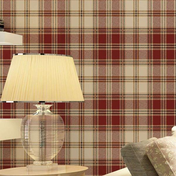 best selling England grid wallpaper British American pastoral Scottish plaid non-woven wallpaper living room modern bedroom wallpaper