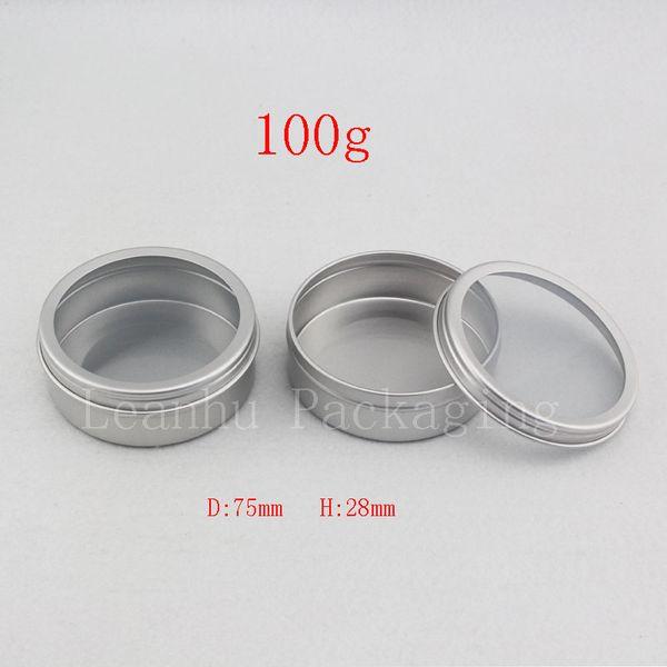 40g 100g empty silvler cosmetics cream container window cap ,metal aluminum jar balm bottle tin pot can,gift jars for tea candle
