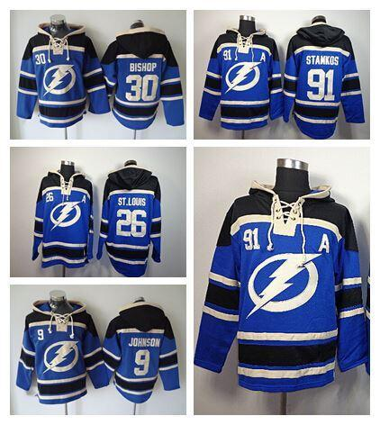 Factory Outlet, mejor 91 Tampa Bay Lightning sudadera con capucha Steven Stamkos Hoody 26 Martin St. Louis Old Time 9 Tyler Johnson Hockey Sudadera con capucha