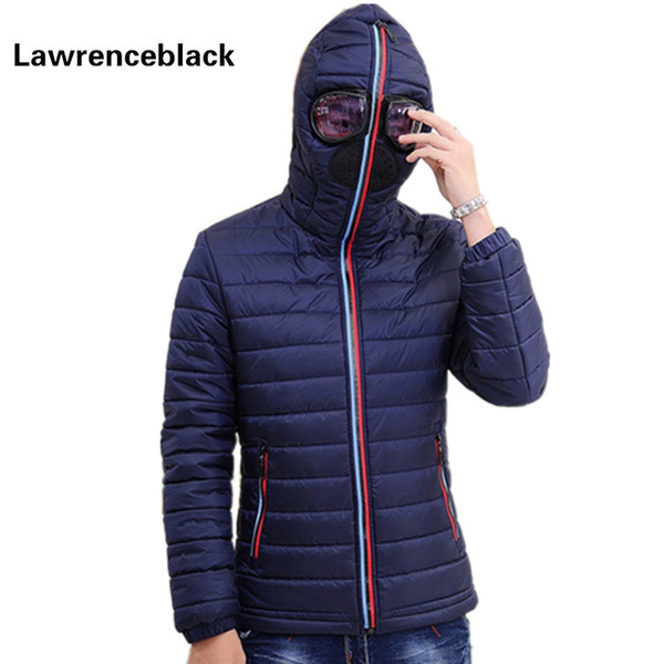 Wholesale-Lawrenceblack Winter Jackets Men Parkas with Glasses Padded Hooded Coat Mens Warm Camperas Children Windproof Quilted Jacket 839