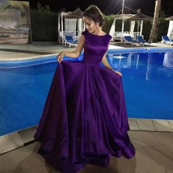 Einfache elegante purpurrote A-Linie Satin-Abend-Kleider 2018 Kappen-Ärmel-Korsett-Rücken geraffte formale Partei-Kleid-klassische Abschlussball-Kleider