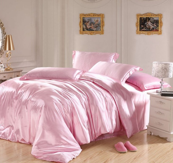 Light Pink bedding sets Silk satin super king size queen double quilt duvet cover fitted bed sheet linen bedspreads doona 6pcs