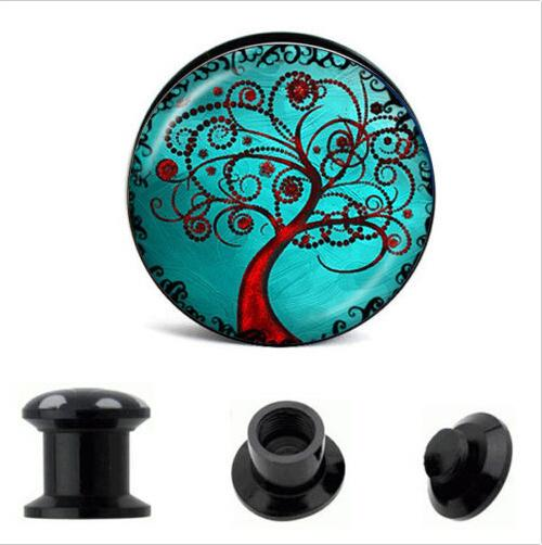 top popular Blue Tree Of life Ear Plug Tunnel UV Acrylic Ear Gauge 64pcs mix 8 size Body Ear Expander Piercing Jewelry 2021