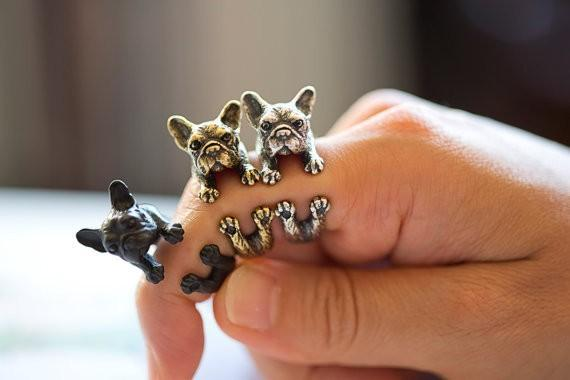Retro Animal Handmade French bulldog ring Ring Fashion Antique Gold Silver Vintage Adjustable Rings for women