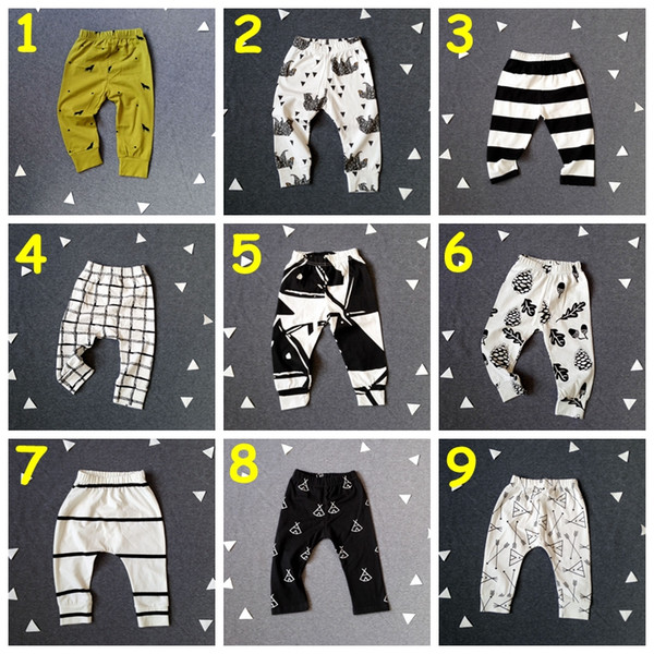 top popular New Baby INS Leggings boys girls cotton spring autumn trousers patchwork pattern long Pants kids 9styles for choose cotton pants 2020