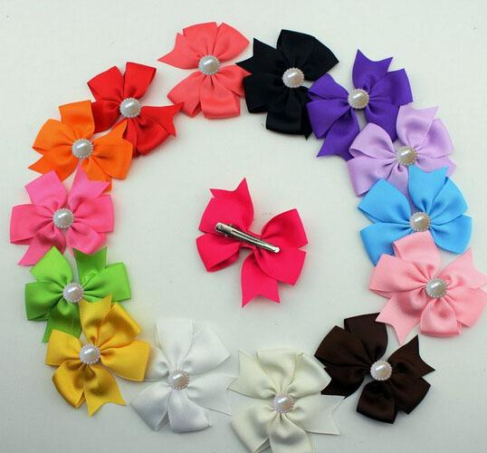 10%OFF 2015 hot sale 3 inch Pearl bow Ribbon Baby Boutique Hair Bows with Clips Pearl Fashion Girl Hair baby Hair pins 30pcs/lot