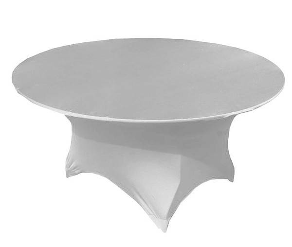 top popular Wholesale Price-- 6FT Round White Spandex Lycra Tablecloth 5PCS A Lot For Wedding,Party,Hotel Decoration Use 2020
