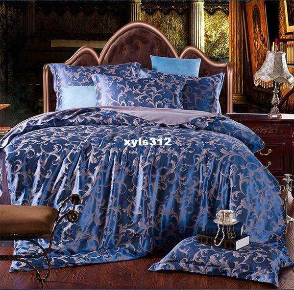 Lussuoso jacquard in raso di cotone / seta King / Queen Size set biancheria da letto 4 pezzi Copripiumino / trapunta copripiumino federa set tencel