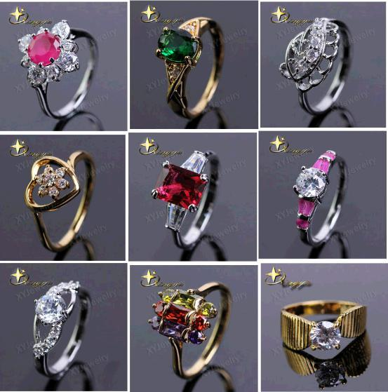 best selling Hundreds of styles new Christmas party prom gemstone ring silver plated rings stainlessGemstone Rings Engagement Ring