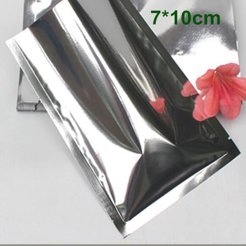 """DHL 7*10cm (2.8*3.9"""") 2000Pcs/Lot Open Top Silver Aluminium Foil Plastic Pack Bag Vacuum Pouches Heat Seal Bag Food Storage Package Bags"""