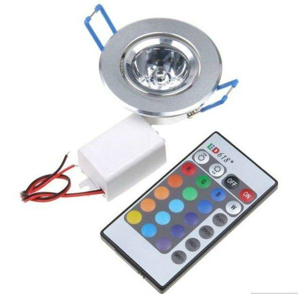 16 Colors Changing 3W Recessed RGB LED Ceiling Downlight Spot Lamp Wall Lights 85-265V Remote Controller Decorative For Christmas Holiday