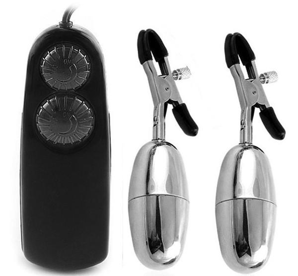 Braçadeiras de mamilo Vibrando Bala Mamilo Labia braçadeira Estimular Flertar Sex toys para as mulheres Dupla vibração clipe Mamilo Vibrador Pasta de Mama A7