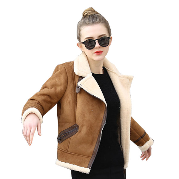 All'ingrosso-Brown Shearling Cappotti di pelle di pecora Donna 2017 Autunno Inverno Donna CoffeeLambs lana breve Biker Faux Leather Suede Giacche JS3010