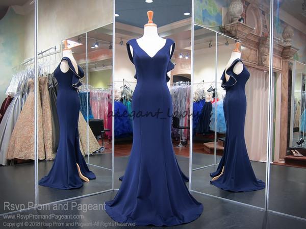 Navy Blue V-neck Cap Sleeve Fitting Prom Pageant Dresses 2018 Custom Make Sexy Split Back Ruffles Mermaid Evening Wear Dress Cheap