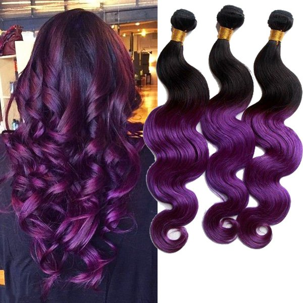 Cheap Purple Ombre Brazilian Body Wave Sexay Blonde Hair Weave Human