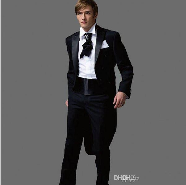 f2c6139bb0f New Tailcoat Black Groom Tuxedos Notch solapel Mejor Hombre Padrinos de boda  Hombres Trajes de boda