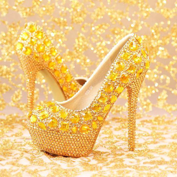 Handmade gold crystal rhinestone bridal dress shoes high heel closed toe slipon wedding dress shoes for women