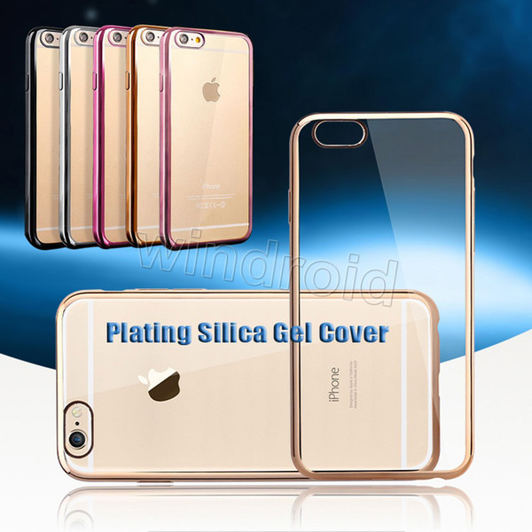 Slim Plating TPU silicone soft Case Transparent Clear Back Cover For Apple iPhone 6 6S Plus 5 5S S7 edge Scratch-proof Cases 100pcs Cheap