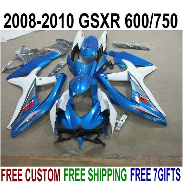 New aftermarket parts for SUZUKI GSX-R750 GSX-R600 2008 2009 2010 white blue black fairings K8 K9 GSXR600/750 08-10 fairing kit KS83